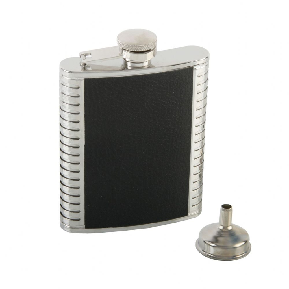 Black Leather Finish Hip Flask With Funnel In Gift Box - Stainless Steel 6oz Hip Flask Gift For Men